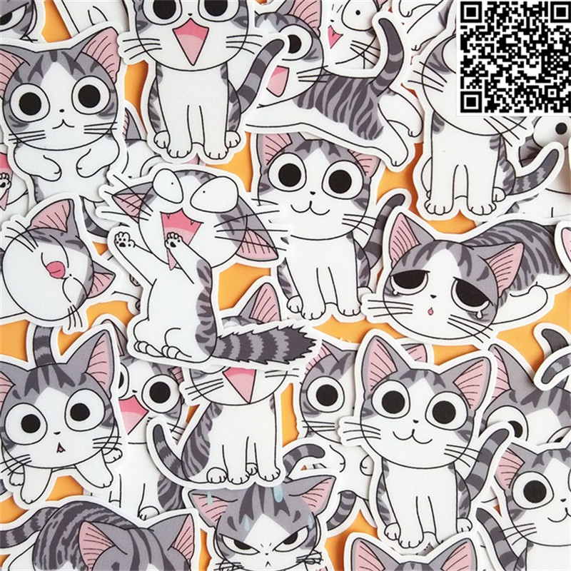 32 Pcs Kitten Expression  Sticker For Luggage Skateboard Phone Laptop Moto Bicycle Wall Guitar/Eason Stickers/DIY Scrapbooking