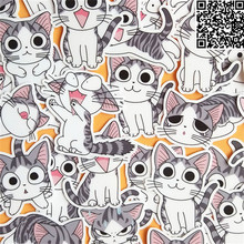 32 Pcs kitten expression  Sticker for Luggage Skateboard Phone Laptop Moto Bicycle Wall Guitar/Eason Stickers/DIY Scrapbooking 36 pcs cartoon cute bear sticker for luggage skateboard phone laptop moto bicycle wall guitar stickers diy scrapbooking