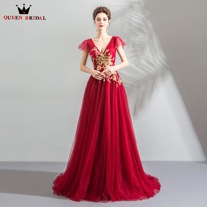 Luxury Red Evening Dresses 2019 Fashion A-line V-neck Tulle Lace Flowers Beading Party Gowns Dress Evening Gown CS101