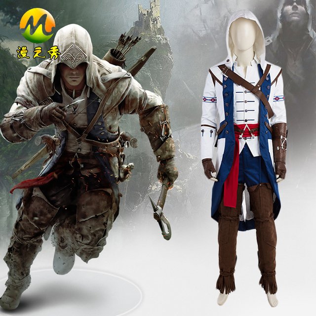 New Movie Assassin s Creed Connor Cosplay Costume Outfit Halloween Party  For Men Printing Process Size Can Be Customized f3ab9a6e288