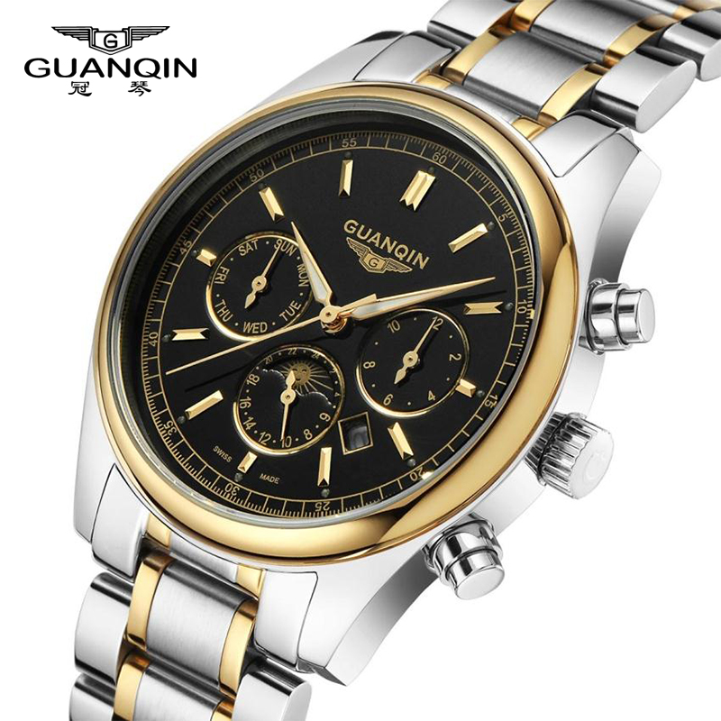 GUANQIN Men's Watches New luxury brand watch men Fashion sports quartz-watch stainless steel strap Waterproof Classic date clock steel strap number quartz date watch