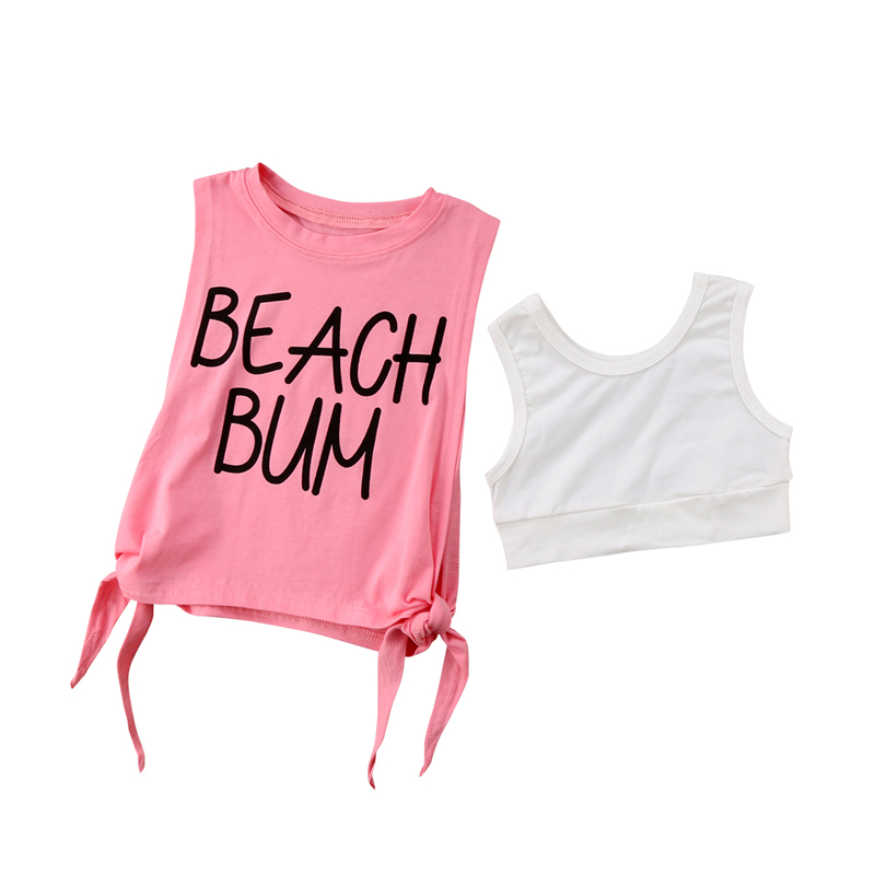 Summer Children Clothing 2018 Newest Kids Baby Girl Knotted Sleeveless Letter Tops+Vest 2Pcs Casual Baby Girls Tees Clothes 1-6T