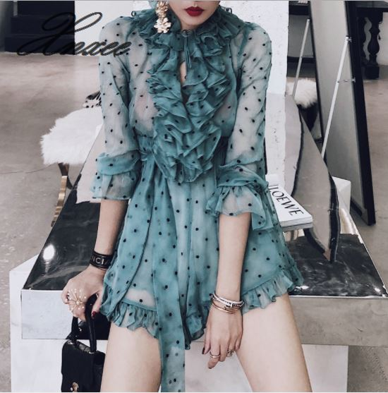Wide leg V neck wave point jumpsuit female summer 2019 new high waist was thin wave point Siamese shorts chiffon-in Rompers from Women's Clothing    1