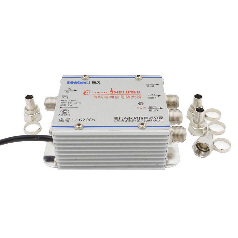New Arrival 1 In 3 Out CATV TV Antenna Professional CATV Signal Amplifier Booster Splitter 20dB 45-860MHz gs01 03 3 x 1 3 way 5 2400mhz splitter all ports power pass for satv catv silve