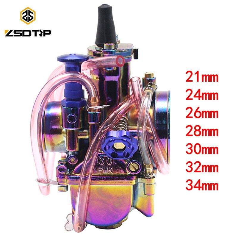ZSDTRP coloré PWK carburateur Moto 4 T moteur Scooters vélo de saleté ATV 21 24 26 28 30 32 34mm avec Moto de course à Jet d'énergie
