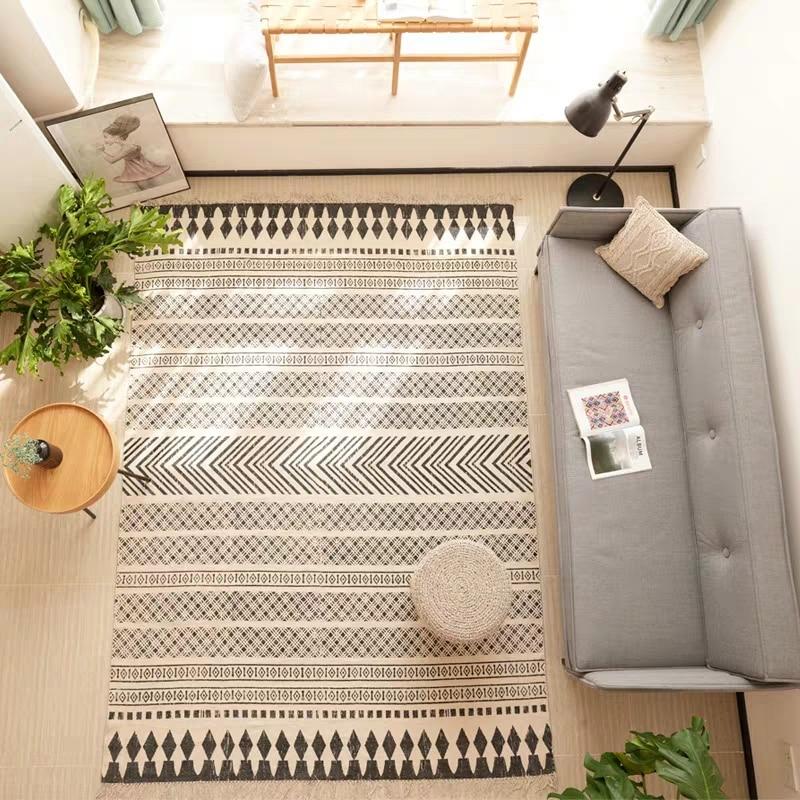 Nordic Style 100 Cotton Geometric Rug