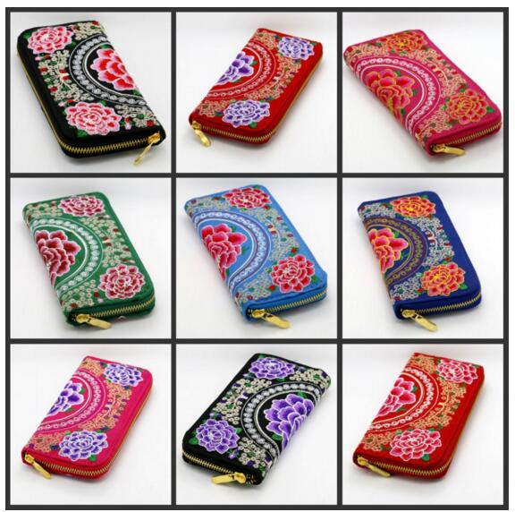 10pcs/lot! Embroidered Canvas Women Wallet Purse Handmade Ethnic Flowers Embroidery Zip Day Clutch Cash Card Purse ethnic embroidered black cami dress for women