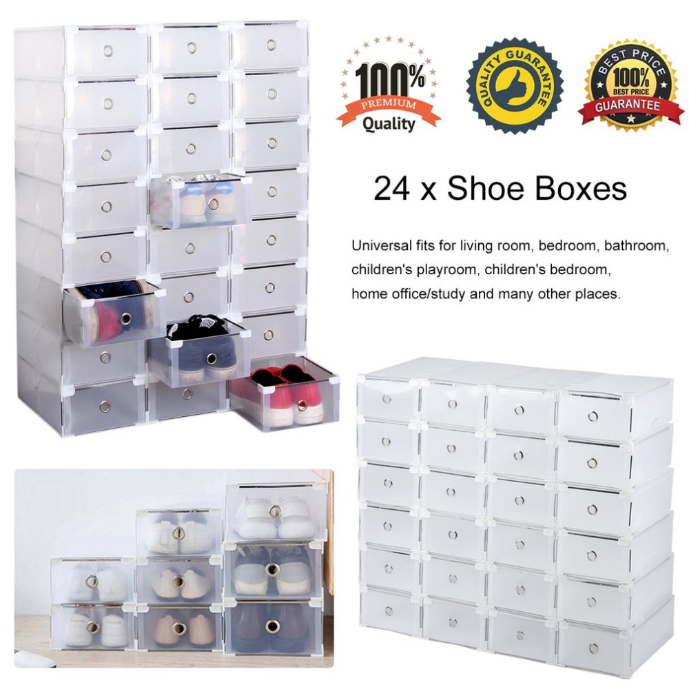 Ship From DE 24pcs Foldable Plastic Shoe Boxes Universal Home Organizer Stackable Storage Drawer Transparent Home Holding Box