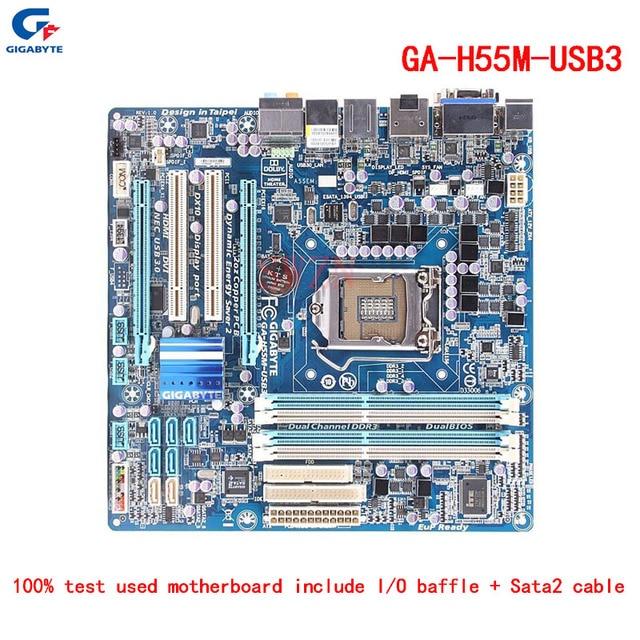 original Used Desktop motherboard For Gigabyte GA H55M USB3 H55