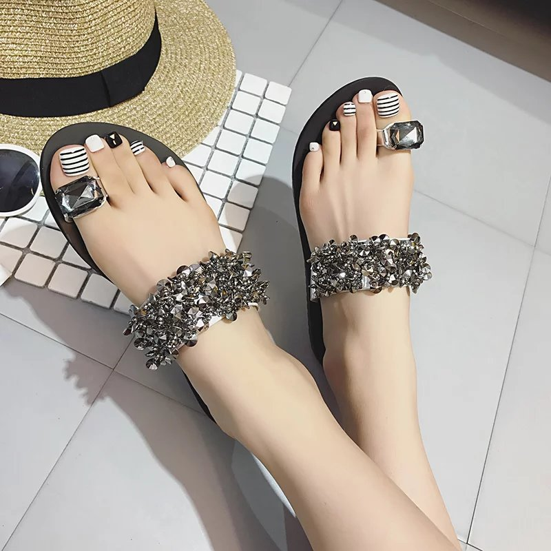 Mujeres Flip Mujers Negro Beach Sandalias Pisos plata Mujer Moda Diapositivas Calzado Diamante Del 2017 Verano Casual Flops Zapatillas Para FdxAq0AB