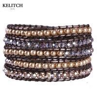 Biżuteria Hot Selling Symulowane-pearl KELITCH Kryształki Koraliki Mieszane 5 Wrap Czeska Bransoletki Przyjaźni Dla Najlepszego Przyjaciela Prezenty