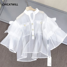 CHICATWILL Summer Designer French style office lady white ruffles Blouses women elegant Flare Sleeves OL Tops