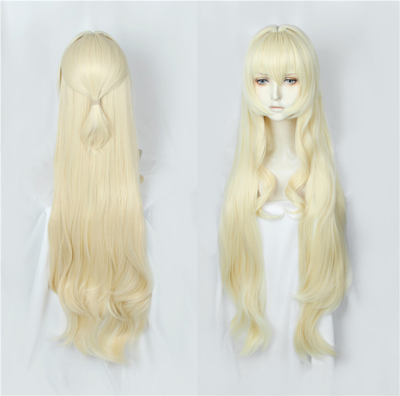 New Goblins Slayer Onna Shinkan Priestess 100cm Long Milk Blonde Heat Resistant Hair Halloween Cosplay Costume Wig Perucas