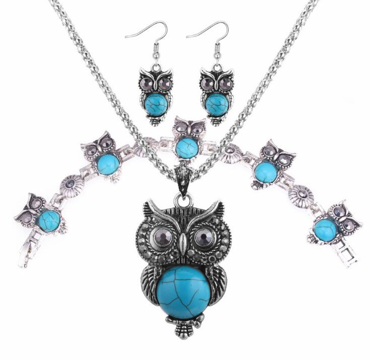 Poem snow Pseudoscope Owl Set Chain Fashion Necklace Earrings Set Jewelry Four Set Jewelry