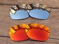 Cromo Plateado y Rojo 2 Pares de Espejo Polarizado Lentes De Repuesto Para Jupiter Cuadrado gafas de Sol de Marco 100% UVA y Uvb