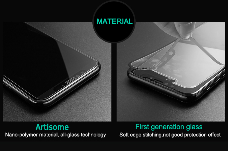 Artisome 0.2mm Tempered Glass For iPhone X Screen Protector Full Cover 4D Film Screen Protector For iPhone X 10 Glass            (4)