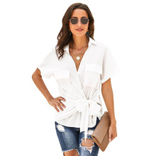 SEBOWEL New Summer Casual Woman Wrap Top Knotted Blouses & Shirts Short Sleeve Female Sexy V-Neck Tie Tops Shirt 2019 Size S-XXL