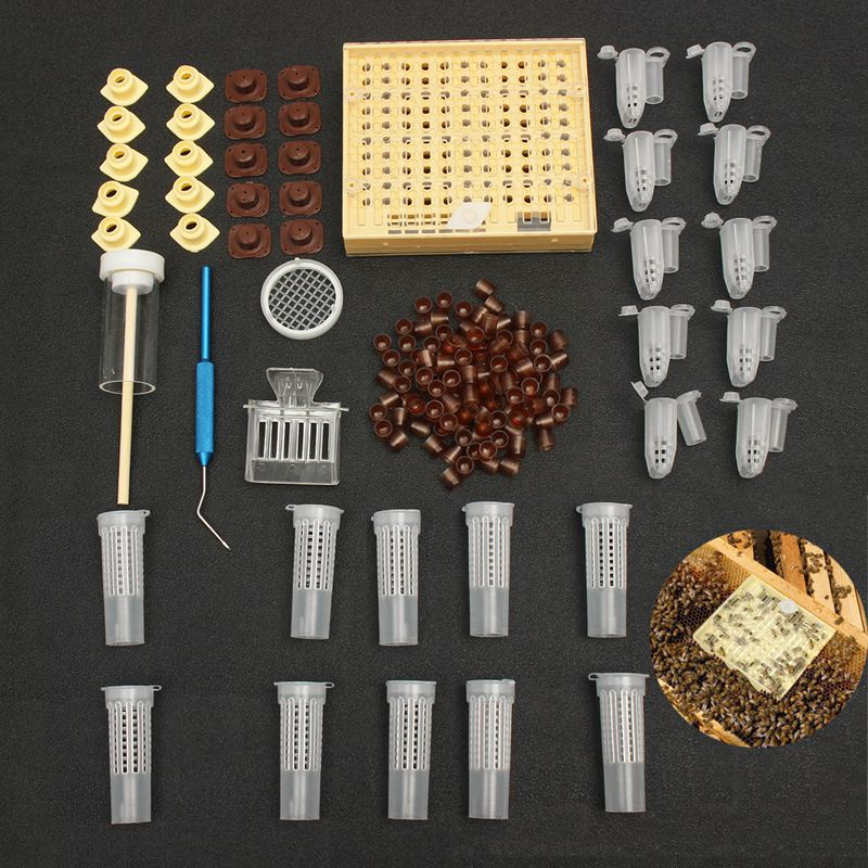 155pcs Plastic Queen Rearing System Cultivating Box Cell Cups Bee Catcher Cage Beekeeping Tool Equipment