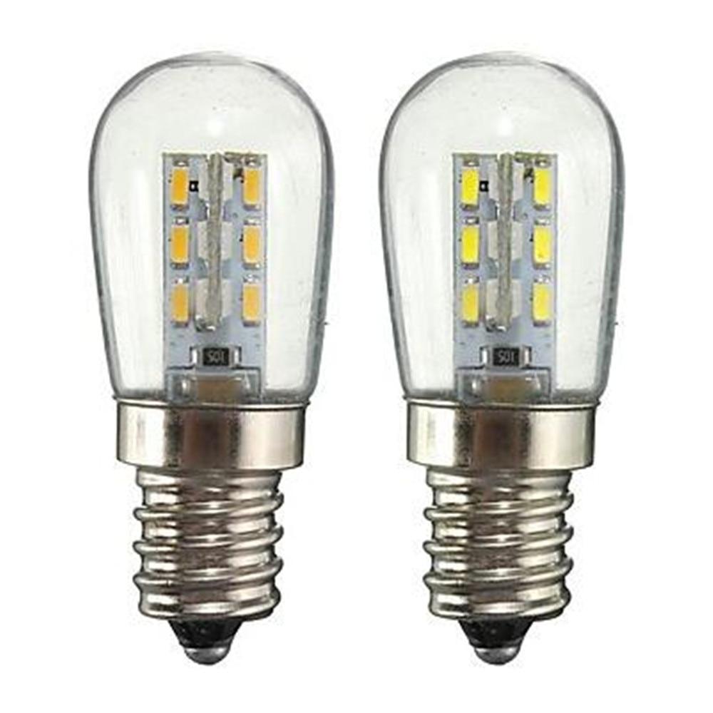 LED Bulb E12 2W AC220V 3014SMD 24LED Glass Shade 360 Degree Angle Lighting Warm/Cold White For Sewing Machine/Refrigerator