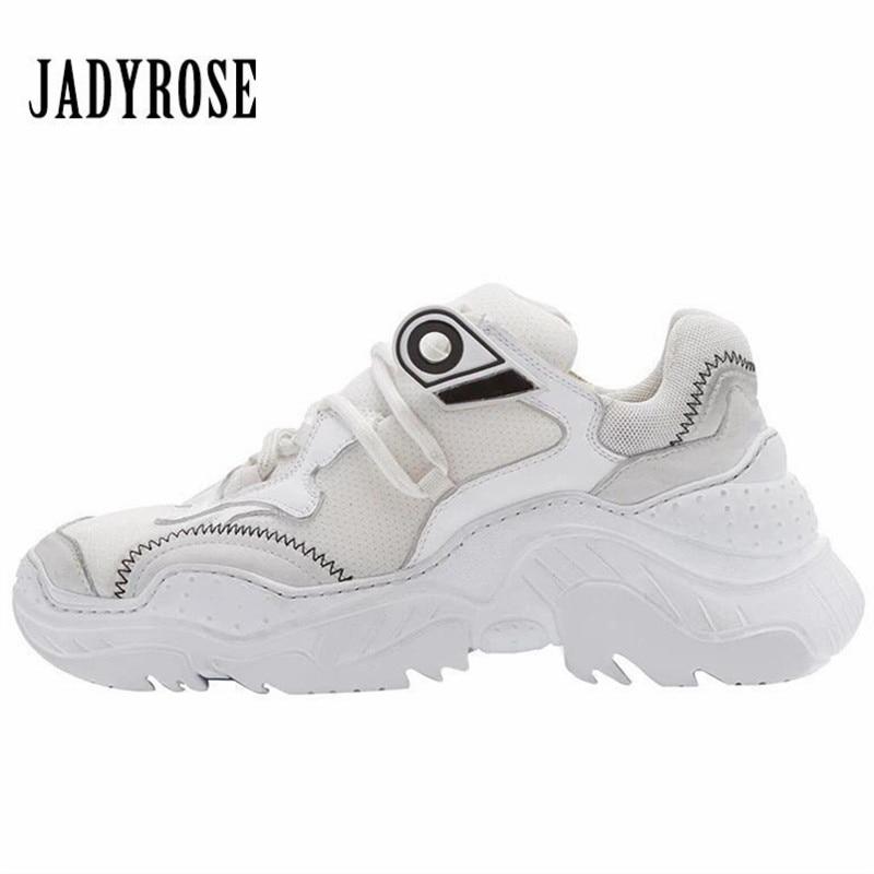Jady Rose Fashion White Women Sneakers Female Platform Creepers Lace Up Casual Flat Shoes Tenis Feminino Espadrilles jady rose 2018 new women flats pointed toe velvet espadrilles female casual loafers flat shoes woman ladies shoe tenis feminino