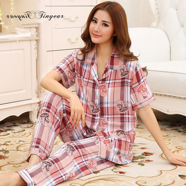 Новое прибытие большой размер хлопка пижамы плед с коротким рукавом v шеи пижамы femme котон дышащий pijama лето пижама для взрослых