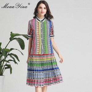 Image 2 - MoaaYina Fashion Designer Set Spring Summer Women Bow Short sleeve Stripe Print Indie Folk Shirt Tops+Skirt Two piece suit