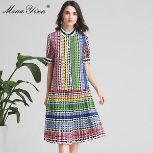 Image 2 - MoaaYina ensemble de créateurs de mode printemps été femmes arc à manches courtes rayure imprimé Indie Folk chemise hauts + jupe deux pièces costume
