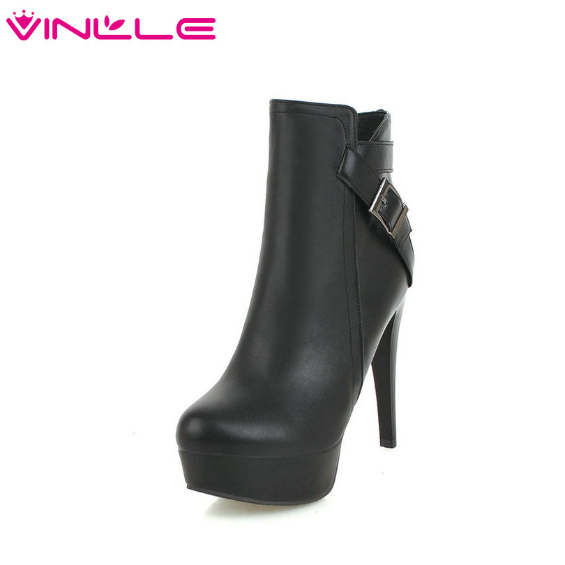 VINLLE 2019 Black Women Ankle Boots All Match Platform