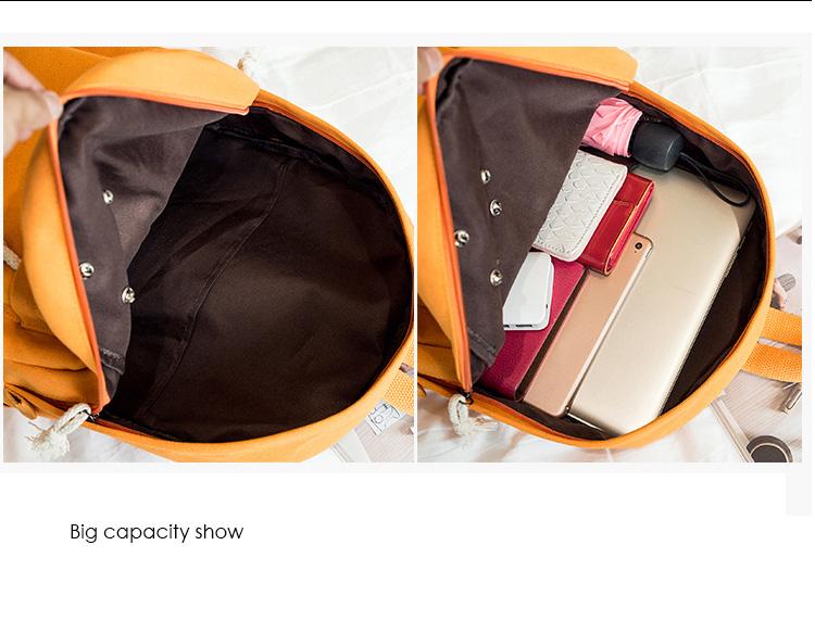 Menghuo 5 Pcsset Women Backpacks Cute Plane Badge School Bags For Teenage Girls Simple Canvas Backpacks Ladies Shoulder Bags (36)