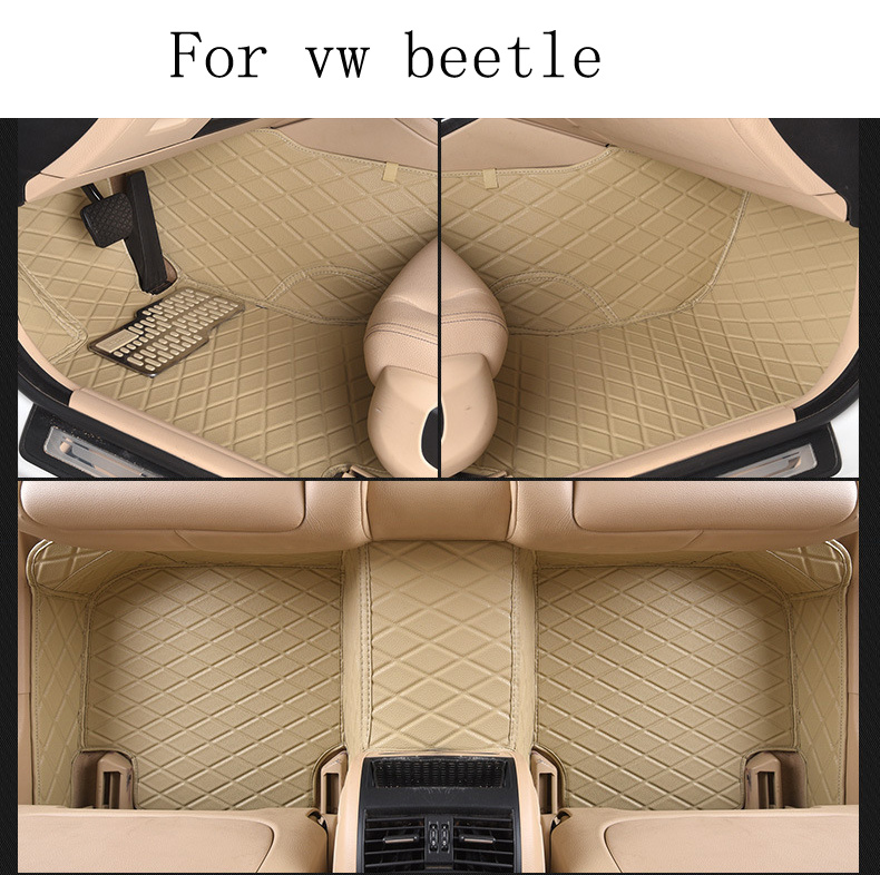 for Volkswagen VW Beetle brand leather Wear-resisting Car floor mats black grey brown Non-slip waterproof 3D car floor Carpets for volkswagen vw tiguan left drive firm leather full car floor mats black brown non slip custom made waterproof carpets