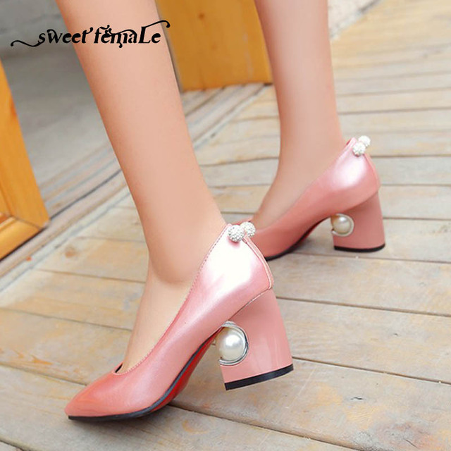 2018 Spring Fashion Patent leather Wedding shoes High heels Black red pink  beige white silver Plus f2f8208929d9