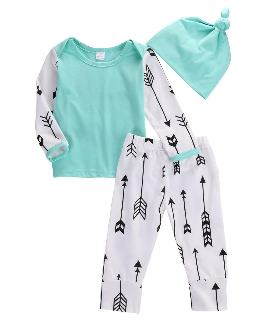 HOT Sale 3Pcs Newborn Infant Baby Boy Girl Arrows Long Sleeve Top Long Pants Leggings Hat Outfit Set Clothes