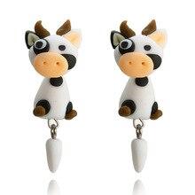 CXW Fashion animal earrings for women classic fashion baby cow animal accessories cute animal ear studs K03 цены онлайн