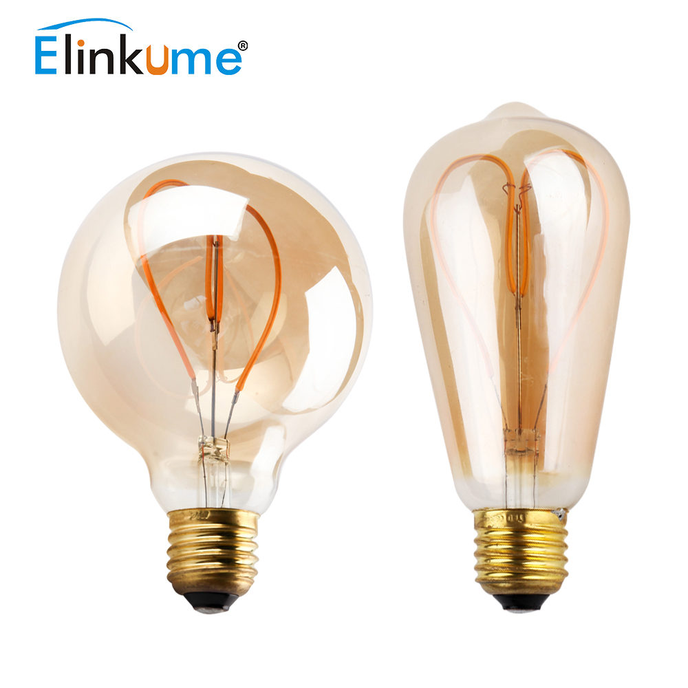 Elinkume E27 LED Bulb E14 E26 LED Filament Lamp 220V 230V 4W Heart Vintage Edison Bulb Candle Glass Led Decorative Lampara 5pcs e27 led bulb 2w 4w 6w vintage cold white warm white edison lamp g45 led filament decorative bulb ac 220v 240v