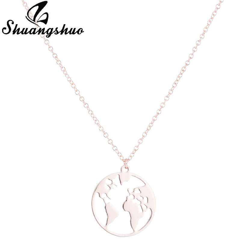 Shuangshuo Vintage Origami World Map Necklace Women Geometric Necklace Round Necklace Circle Necklaces & Pendants Choker Jewelry 11