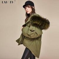 Зимняя мода утолщение Асимметричная куртка Для женщин теплые Для женщин S Куртки с капюшоном реального Ракун Мех животных высокое Пальто Св