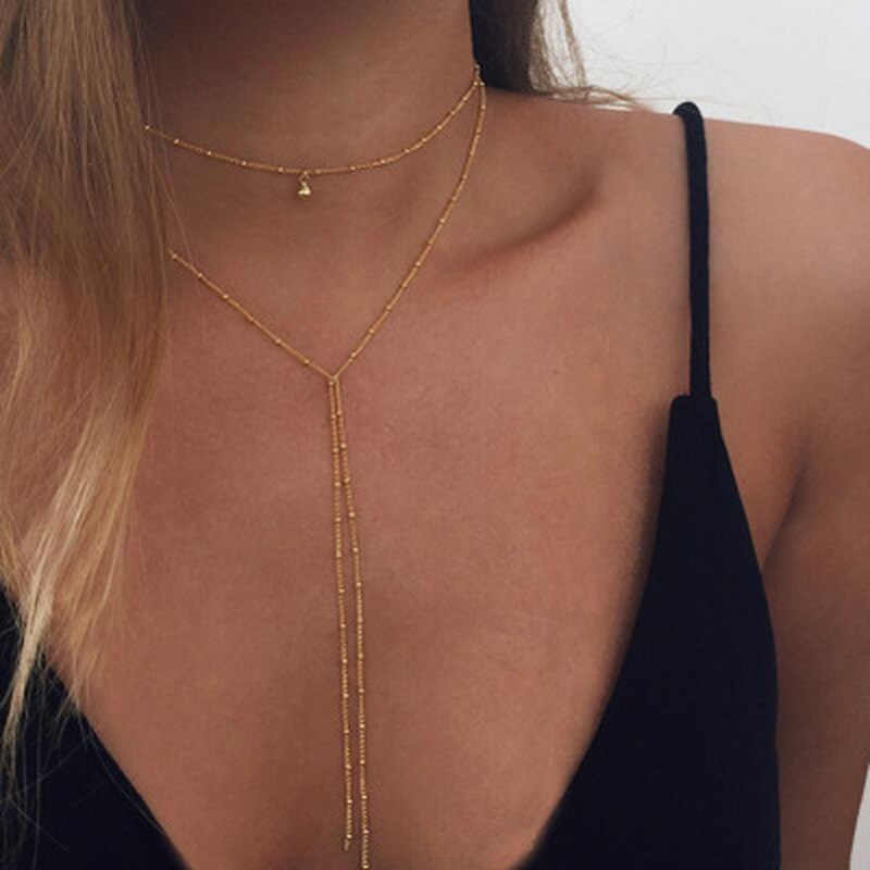 2019 Simple Gold Silver Color Chain Choker Necklace Long Beads Tassel Choker Necklaces For Women collar
