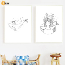 Whale Girl Sleeping Beauty Wall Art Canvas Painting Nordic Posters And Prints Pictures For Kids Baby Room Home Decor