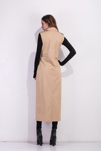 Zioksy 2017 Women X-Long Coat Double Breasted Slim Suit Collar  Soild vest sleeveless Trench Coat Outwears 8