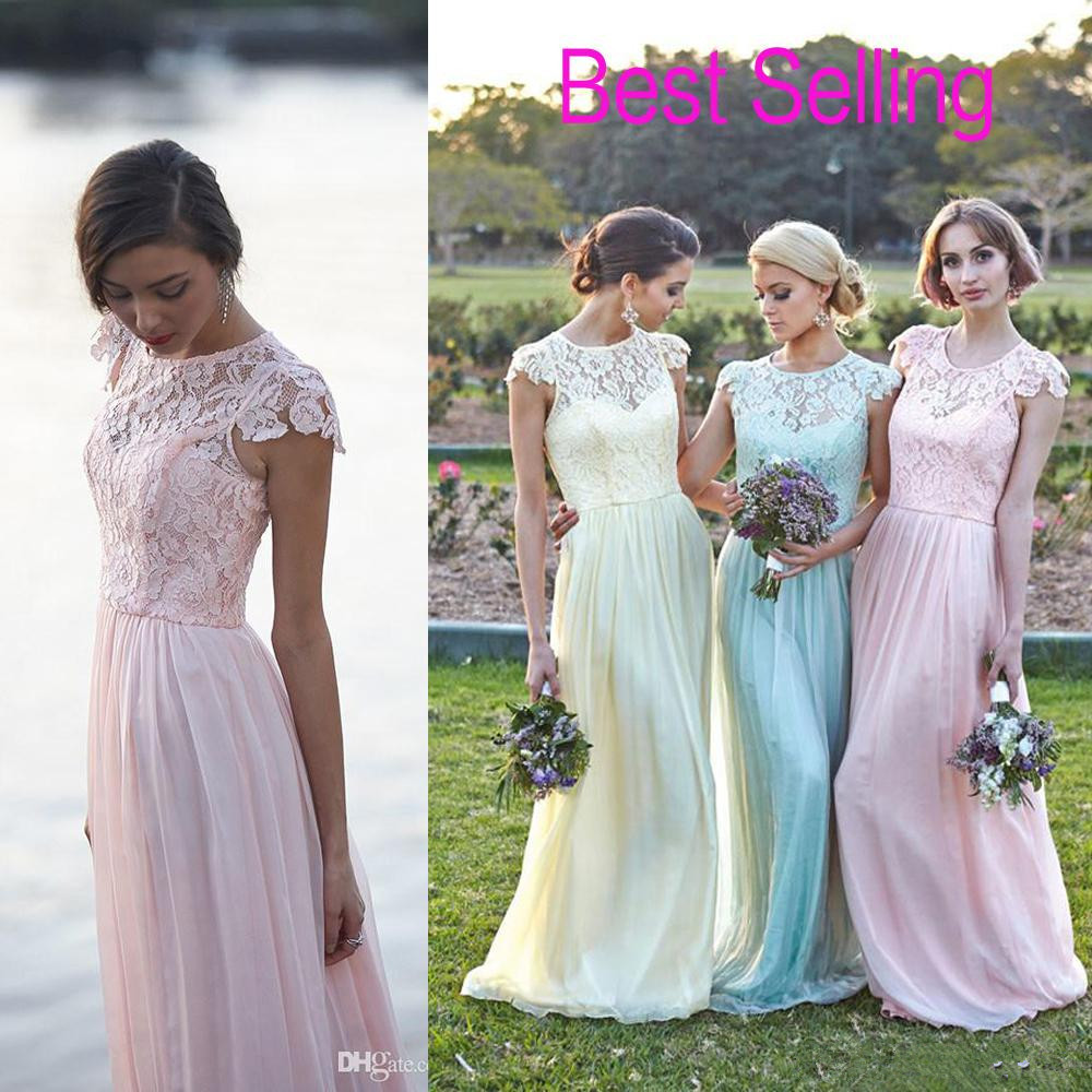2015 elegant cap sleeve lace chiffon long sheath bridesmaid dresses 2015 elegant cap sleeve lace chiffon long sheath bridesmaid dresses party gowns custom size 4 6 8 10 12 14 16 18 b74 in bridesmaid dresses from weddings ombrellifo Image collections
