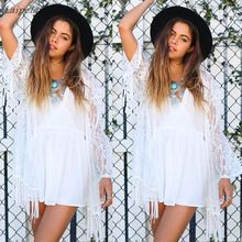 купить Hot New 2018 Summer Sexy Women See Through Boho Fringe Lace Kimono Cardigan Tassels Beach Shirt Cover Up Cape Tops Blouse Top дешево