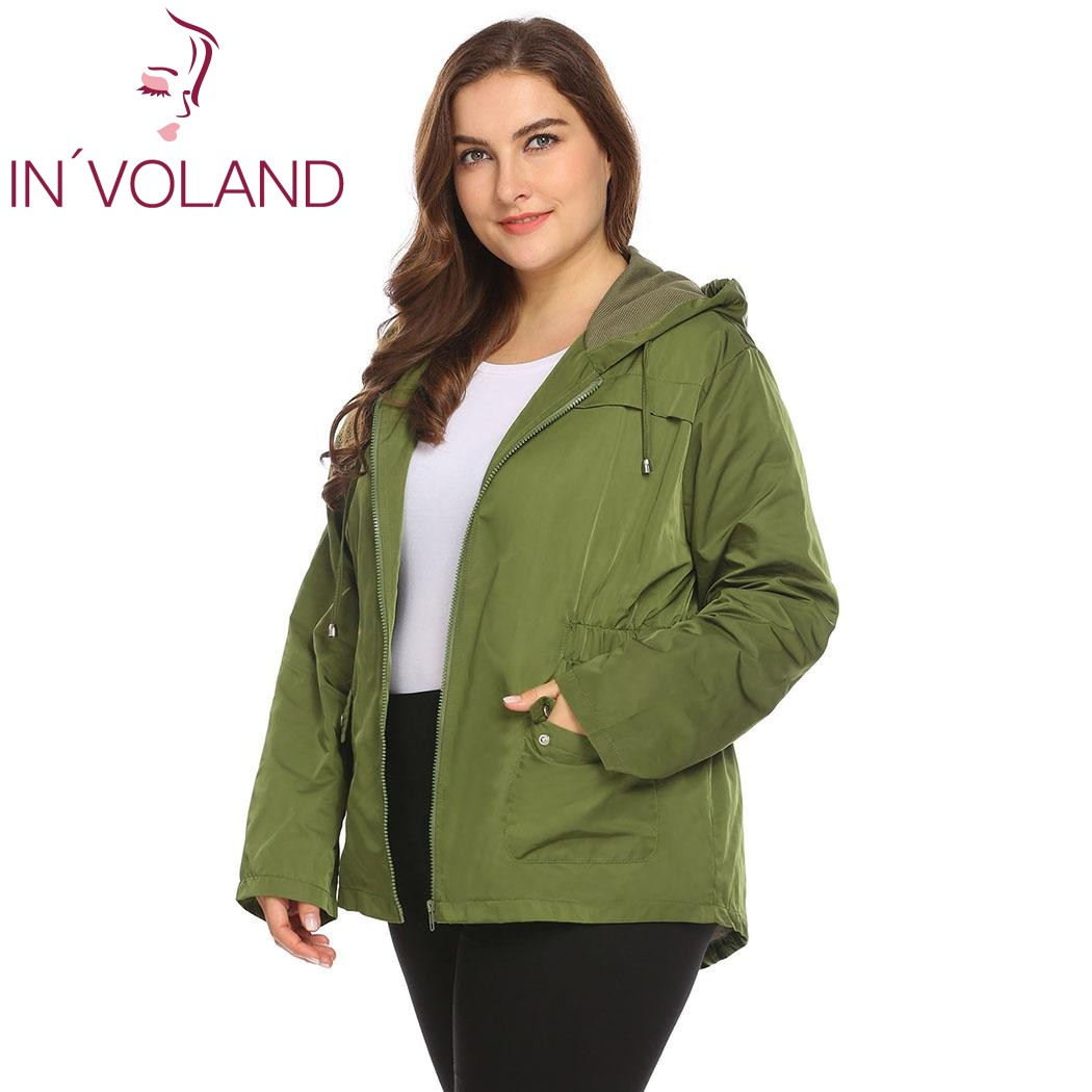 IN'VOLAND Large Size XL-4XL Women Lightweight Jacket Hooded Full Zip Raincoat Loose Solid Casual Waterproof Big Coat Plus Size 3