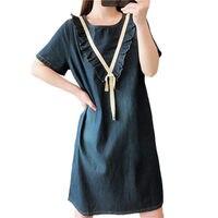 New Arrival 2019 Summer Women's Clothing Large Size Denim Dress Casual Loose Fashion Mini Dress Jeans Vestidos 5XL Elbise f647