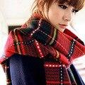 Otoño e invierno para mujer británica estilo magicaf bufanda a cuadros de cachemira largo engrosamiento térmica bufanda del silenciador del cabo