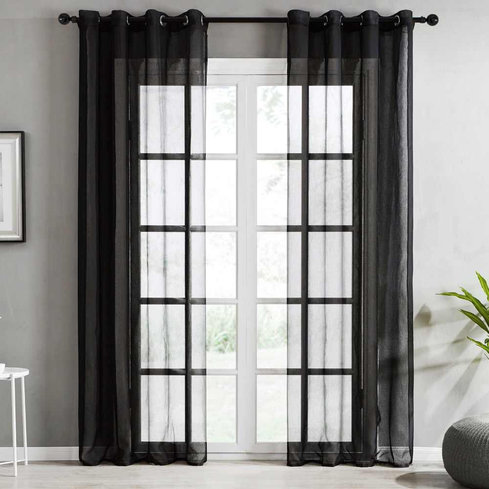 Black Voile Curtains Topfinel Plain Voile Curtain White Sheer Curtains For Living Room Bedroom Kitchen Decorative Door Curtain Window Tulle Drapes