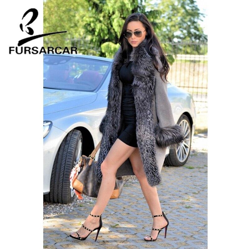 479a337e60 De Moda Plateado Fursarcar Color 01 Lana Piel Elegante Con Mujer La Zorro  Abrigos Invierno Cuello ...