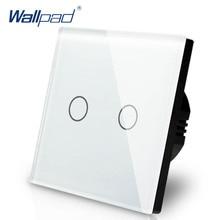 Interruptor de atenuación de 2 entradas, 1 vía, Wallpad, interruptor de pared de cristal blanco de lujo, Interruptor táctil Normal de 110 250V, estándar europeo