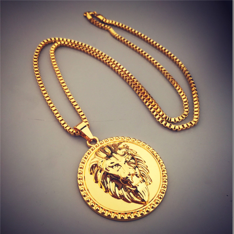 2017 New Hip Hop Jewelry Shiny Golden Lion Head Pendant Necklace Round Charm Box Chain Punk Style Men's Jewelry Gifts smith w golden lion