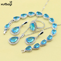XUTAAYI Fashing Blue Created Topaz Top Quality Silver Color Jewelry Set For women Classy Wedding Necklace/Rings/Earring/Bracelet