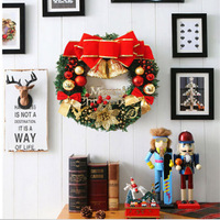 1 Piece 30CM Christmas Holiday Wreath Door Ornament Garland Decoration Christmas Bell H9239